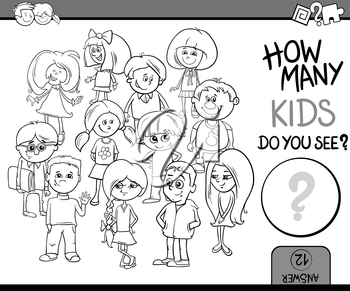 Black and White Cartoon Illustration of Educational Counting or Calculating Task for Preschool Children with Kid Characters Coloring Book