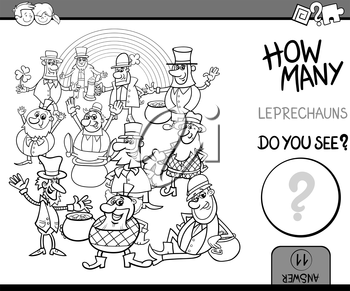 Black and White Cartoon Illustration of Educational Counting Task for Preschool Children with Leprechaun Fantasy Characters Coloring Book
