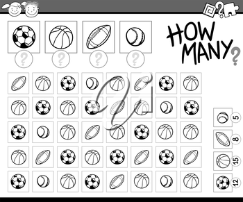 Black and White Cartoon Illustration of Education Counting Task for Preschool Children