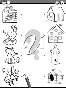 Black and White Cartoon Illustration of Education Element Matching Task for Preschool Children with Animals Coloring Book