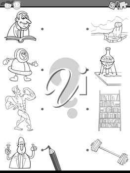 Cartoon Illustration of Educational Matching Task for Preschool Children with People and Objects Coloring Book