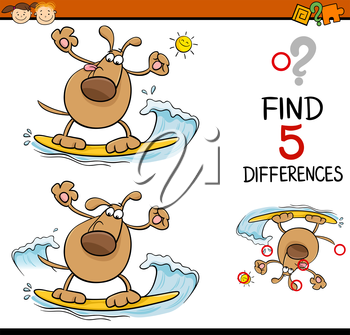 Cartoon Illustration of Finding Differences Educational Task for Preschool Children with Surfing Dog