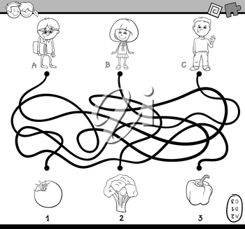 Black and White Cartoon Illustration of Educational Paths or Maze Puzzle Task for Preschoolers with Children and Vegetables Coloring Book