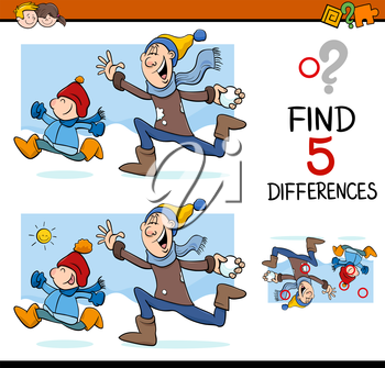 Cartoon Illustration of Finding Differences Educational Activity Task for Preschool Children with Winter Fun