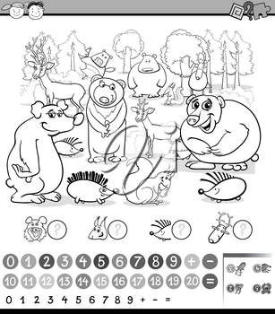 Black and White Cartoon Illustration of Education Mathematical Game of Animals Counting for Preschool Children