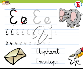 Cartoon Illustration of Writing Skills Practise with Letter E Worksheet for Children