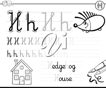 Black and White Cartoon Illustration of Writing Skills Practice with Letter H Worksheet for Children Coloring Book