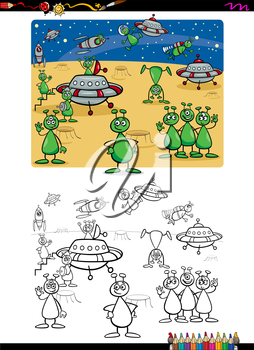 Cartoon Illustration of Funny Alien Characters Coloring Book Activity