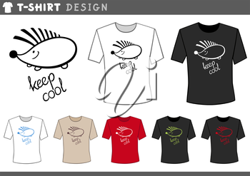 Illustration of T-Shirt Design Template with Cute Hedgehog and Keep Cool Caption