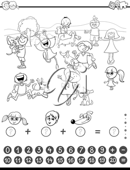 Black and White Cartoon Illustration of Educational Mathematical Counting and Addition Activity Task for Children with Kids and Dogs Coloring Book