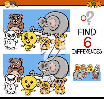 Cartoon Illustration of Finding Differences Educational Activity Game for Children with Animal Characters