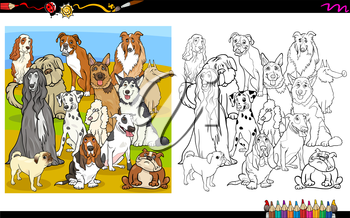 Cartoon Illustration of Purebred Dogs Group Coloring Book Activity