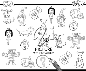 Black and White Cartoon Illustration of Educational Activity of Single Picture Search for Children Coloring Page