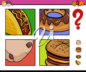 Cartoon Illustration of Educational Activity Task of Guessing Food Objects for Children