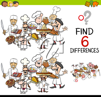 Cartoon Illustration of Finding the Difference Educational Activity for Children with Cook Characters