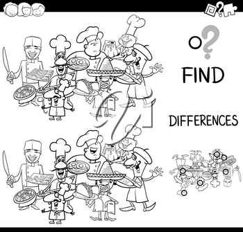 Black and White Cartoon Illustration of Finding the Difference Educational Activity for Children with Cook Characters Coloring Page