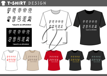 Illustration of T-Shirt Design Template with Emoticons and Text
