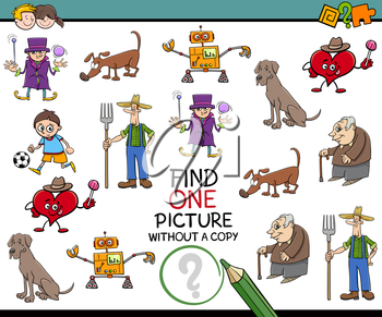 Cartoon Illustration of Educational Activity of Finding Image for Children