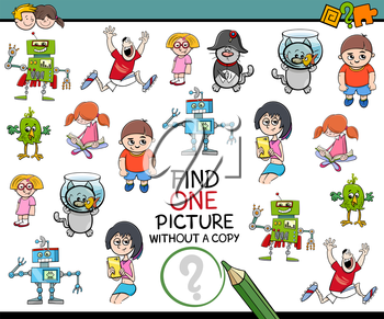 Cartoon Illustration of Educational Game of Finding Single Picture Without a Pair for Children