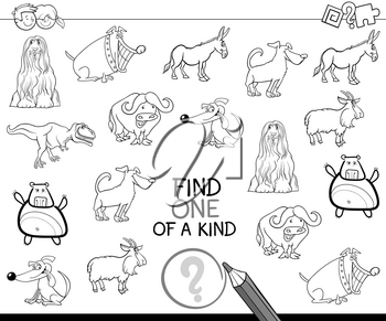 Black and White Cartoon Illustration of Find One of a Kind Educational Activity for Preschool Children Coloring Page