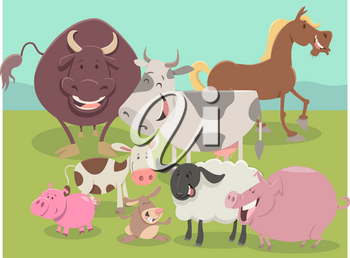 Cartoon Illustration of Cute Farm Animal Characters Group