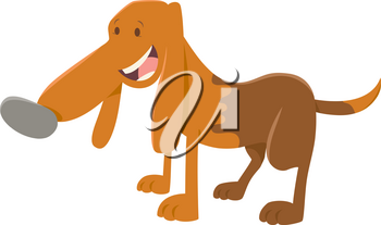Cartoon Illustration of Happy Spotted Dog Animal Character