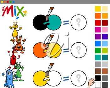 Cartoon Illustration of Mixing Colors Educational Activity Game for Children