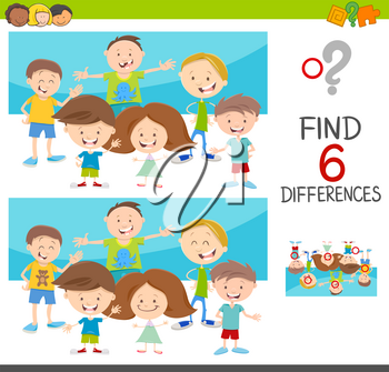 Cartoon Illustration of Spot the Differences Educational Game for Kids with Children Characters Group