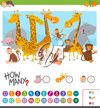 Cartoon Illustration of Educational Mathematical Game of Counting Animal Characters for Children