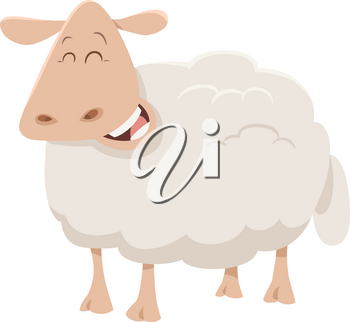 Cartoon Illustration of Cute Sheep Animal Character