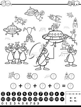 Black and White Cartoon Illustration of Educational Mathematical Activity Game for Children with Alien  Characters Coloring Page