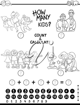 Black and White Cartoon Illustration of Educational Counting and Addition Mathematical Game for Children Coloring Page