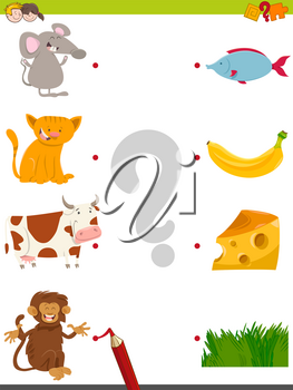 Cartoon Illustration of Educational Pictures Matching Activity Game for Children with Animal Characters and their Favorite Food