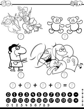 Black and White Cartoon Illustration of Educational Mathematical Activity Game for Children with Valentines Day Characters Coloring Page