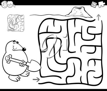 Black and White Cartoon Illustration of Education Maze or Labyrinth Game for Children with Mole Coloring Page