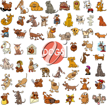 Cartoon Illustration of Dogs Pet Animal Characters Large Set