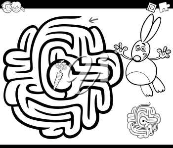 Black and White Cartoon Illustration of Education Maze or Labyrinth Game for Children with Rabbit and Carrot Coloring Page