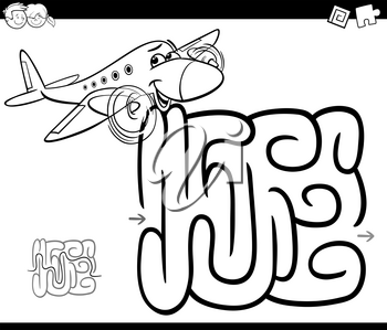 Black and White Cartoon Illustration of Education Maze or Labyrinth Game for Children with Plane Coloring Page
