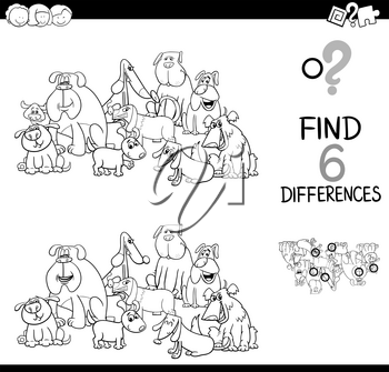 Black and White Cartoon Illustration of Spot the Differences Educational Game for Children with Dog Animal Characters Group Coloring Page