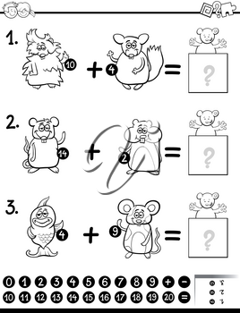 Black and White Cartoon Illustration of Educational Mathematical Addition Activity Game for Children with Animal Characters Coloring Page