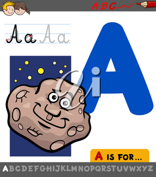 Educational Cartoon Illustration of Letter A from Alphabet with Asteroid Character for Children