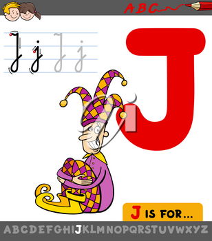 Educational Cartoon Illustration of Letter J from Alphabet with Jester Character for Children