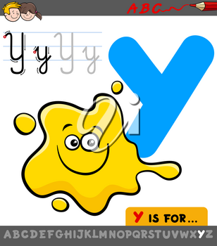 Educational Cartoon Illustration of Letter Y from Alphabet with Yellow Color for Children