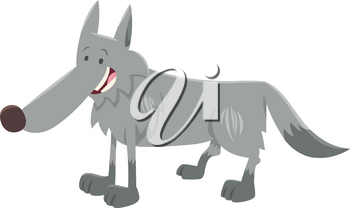Cartoon Illustration of Grey Wolf Wild Animal Character