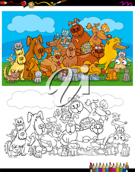 Cartoon Illustration of Cats and Dogs Animal Characters Group Color Book Activity