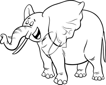 Black and White Cartoon Illustration of Funny Gray African Elephant Animal Character Coloring Book