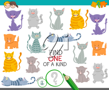 Cartoon Illustration of Find One of a Kind Picture Educational Activity Game with Funny Cats and Kitten Animal Characters