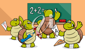 Cartoon Illustration of Turtle Animal Characters at School