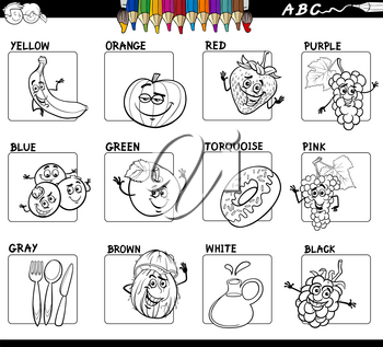 Black and White Cartoon Illustration of Basic Colors with Funny Fruits and Food Object Characters Educational Set Color Book
