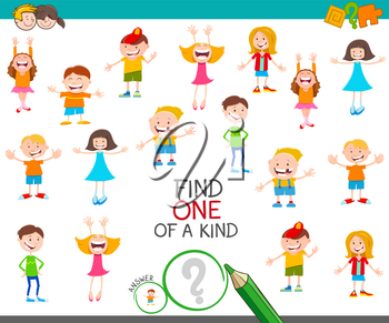 Cartoon Illustration of Find One of a Kind Picture Educational Activity Game with Happy Children Characters